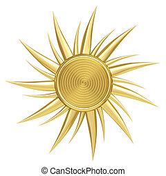 Golden sun symbol isolated on white