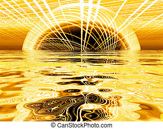 Golden sun with a reflection in water