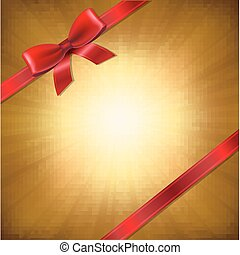 Golden Sunburst With Red Ribbon And Bow