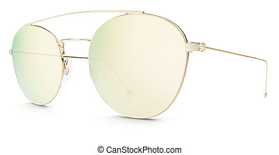 golden sunglasses gold mirror lenses isolated on white background