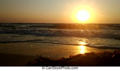 Golden sunrise on  Azov seashore.