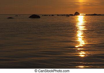 Golden sunset at sea