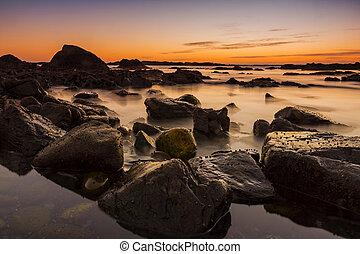 golden sunset at the beach