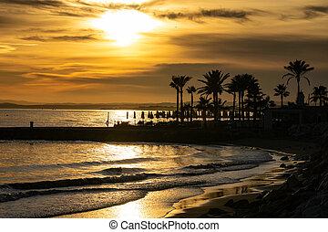 golden sunset beach scene