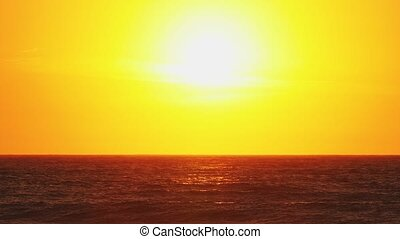 Golden sunset - golden sunset over ocean horizon, hot summer...