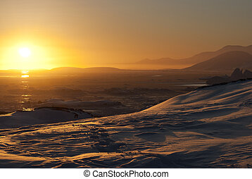 Golden sunset in Antarctica.