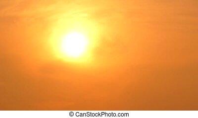 Golden sunset in haze