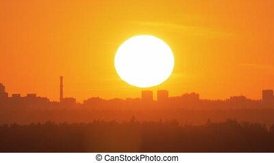 Golden sunset in the city - City skyline and golden sun...