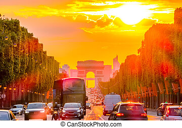 Golden Sunset on the Champs Elysees in Paris