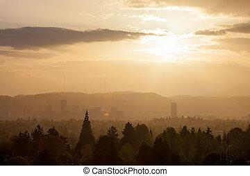 Golden Sunset over Portland Skyline