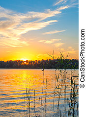 golden sunset over the lake and the beautiful sky