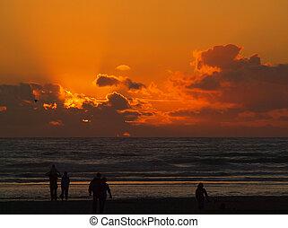 Golden Sunset Over the Ocean