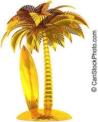 Golden surf board palm tree island