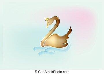 Golden swan vector logo