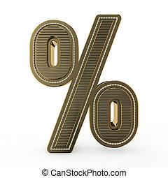 Golden symbol of the alphabet. 3D