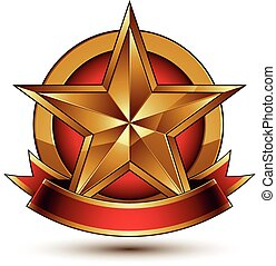 Golden symbol with stylized star