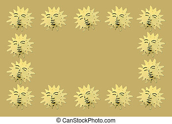 Golden symbolic suns as decoration - Golden symbolic suns...