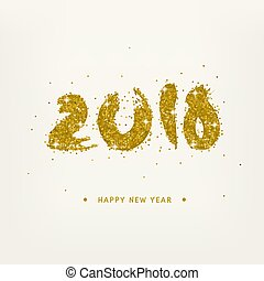Golden Symbols 2018 New Year Text