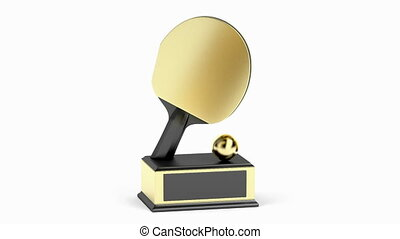 Golden table tennis trophy on white background