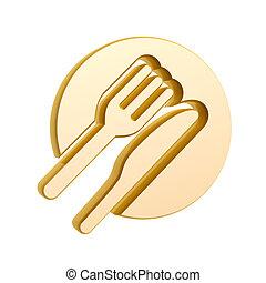 golden tableware symbol isolated on white background