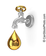 Golden tap and drop.Isolated on white background.3d...