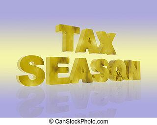Golden Tax season. - 3D illustration, background...