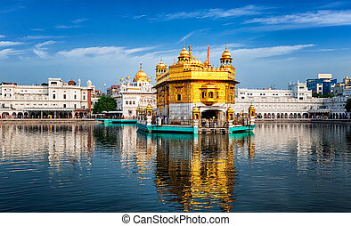 Golden Temple, Amritsar - Panorama of Sikh gurdwara Golden...