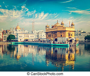 Golden Temple, Amritsar - Vintage retro effect filtered...