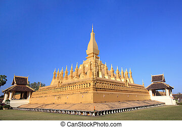 "Golden temple architecture in vientienne ""Pha That Luang"" and its place in Vientiane, Laos."