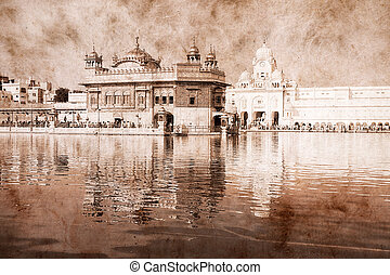 Golden Temple in Amritsar, Punjab, India. Artwork in retro style.