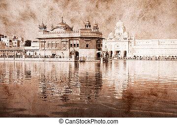 Golden Temple in Amritsar, Punjab, India. Artwork in retro...