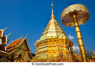 Golden temple Wat phra That in Doi Suthep, Chiang Mai, Northern Thailand