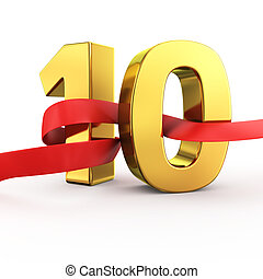 Golden number ten with red fluttering fabric