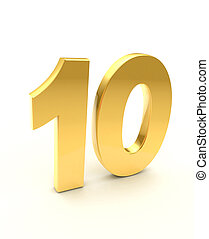 golden ten number - isolated on white background
