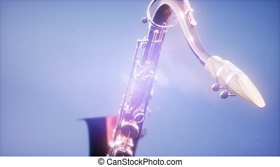 Golden Tenor Saxophone on blue background with light