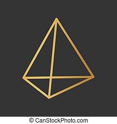golden tetrahedron icon- vector illustration