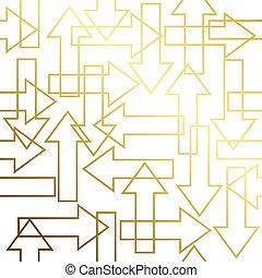 Golden texture Gold Seamless Arrow geometric pattern crossing Golden background Vector seamless pattern.
