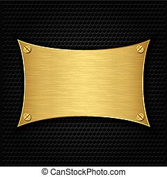 Golden texture plate with screws, v