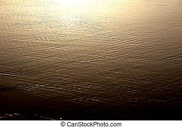 Golden Texture - Golden sunset water sheen on sand