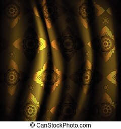 Golden Thai ornament art pattern on silk smooth curtain vector graphic design illustration