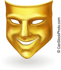 Golden theater mask of comedy realistic icon