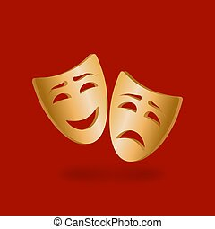 Golden theatrical masks of comedy and tragedy on red background