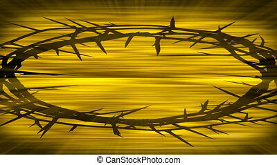 Golden Thorny Crown Loop - A crown of thorns is silhouetted...