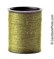 Golden thread spool isolated on white background