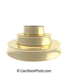 Golden three step copyspace podium isolated on white