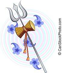 golden thrishul - Illustration of a golden thrishul and drum...