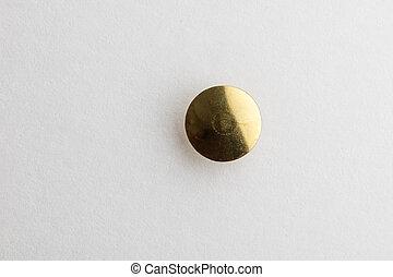 Golden Thumb Tack head - Thumb Tack / Push Pin head with a...