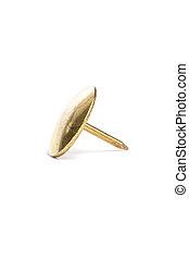 Golden Thumb Tack - Thumb Tack / Push Pin with a white...