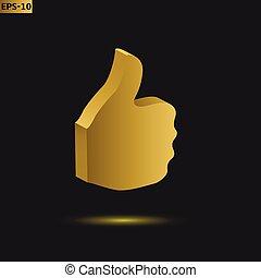 Golden thumb up