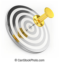 Golden Thumbtack On Target